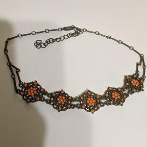 Bohemian orange bronze choker necklace